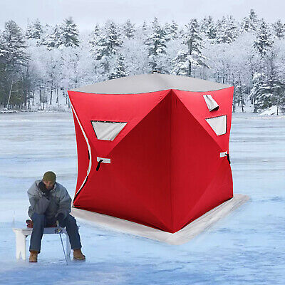 Pop-up 2-person Ice Shelter Fishing Tent Shanty Anchors Stability Oxford Fabric