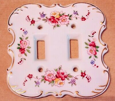 Vintage floral Porcelain Double Light Switch Japanese plate cover gold lines