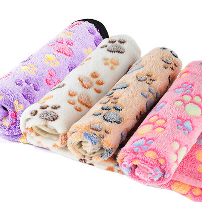 Warm Pet Blanket Small Large Paw Print Cat Dog Puppy Fleece Bed Sofa Mat Cushion