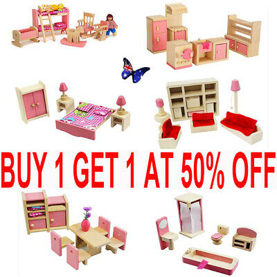 Dolls House Furniture Wooden Set Miniature 6 Room Doll Kids Play Toys Gift TH
