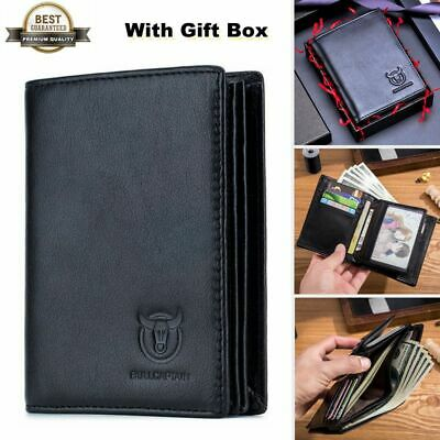Men's Genuine Leather Trifold Wallet Quality Cash Credit Card Women Purse Gift