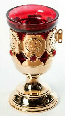 NEW Table Engraved Brass Vigil Lamp two-headed eagle Church Votive Glass