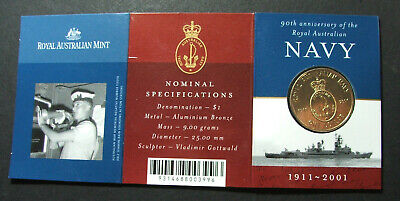 2001 Uncirculated UNC One Dollar Coin Navy 90th Anniversary $1 Free Post AU!