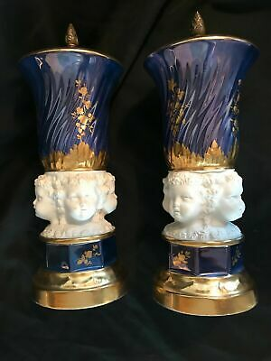 Antique Pair French Hand Painted  Porcelain Urns Bronze Tops Gold Decoration