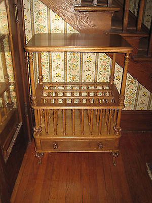 Antique Table End Table Canterbury  Burled Walnut  Book Case  Victorian