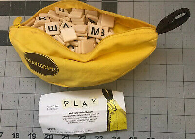 Complete Bananagrams Word Play Letter Tile Game in Banana Zipper Carry Case