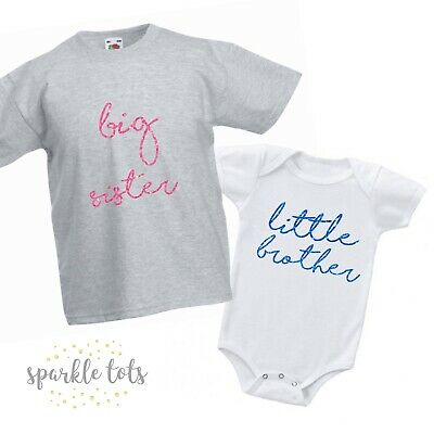 Big Sister, Little Brother, Baby Grow + t shirt matching sibling family outfits