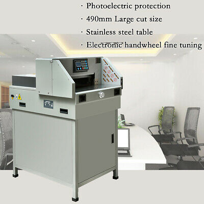 """490mm 19.3"""" Programmable Paper Guillotine Cutter Stack Cutting Machine LCD US"""