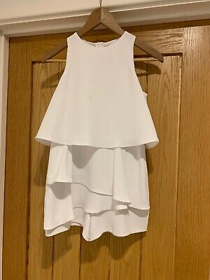 RIVER ISLAND GIRLS WHITE PLAYSUIT WITH RUFFLES SIZE 11 Years