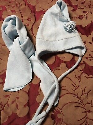 benetton Girls Hat And Scarf Set Pale Blue VGC