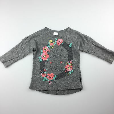 Girls size 00, Bonds, grey cotton long sleeve t-shirt / top, flowers, GUC