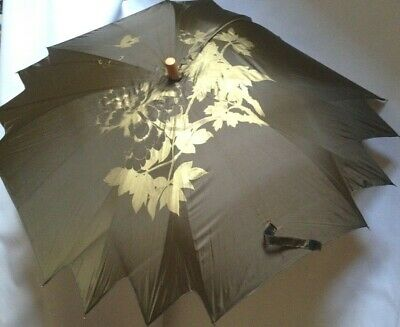 Olive Green Parasol Umbrella with Silver Green Pattern  Wooden Shaft and Handle