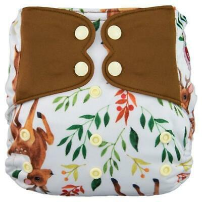 Modern Cloth Nappy Baby MCN Pocket Reusable OSFM Washable Elf Diaper Deer Brown