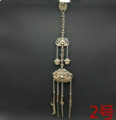 Old jewelry double hand-carved miao silver handing ornament chain pendant 1piece