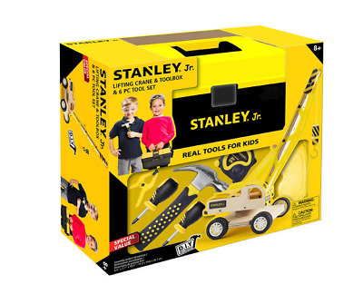 Stanley Jr Real 6 Pc Tools Kid With Real Kid-Sized Wood Lifting Crane Craft Kit
