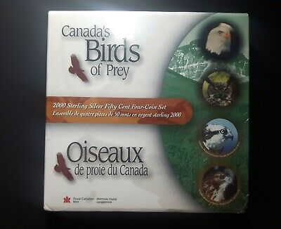 Canada 2000 50 Cents Set Great Horned Owl Silver Birds Of Prey  Sealed from Mint