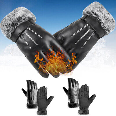 Running Skiing Faux Fur Gloves Cashmere Gloves Touch Screen Mittens PU Leather