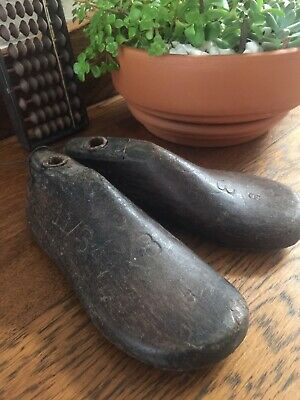 Vintage Wooden & Metal Pair Small Child Size Shoe Lasts Industrial