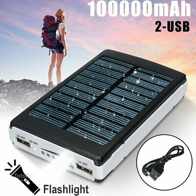 100000mAh LED Solar Power Bank Portable Dual USB Battery Charger For Phone