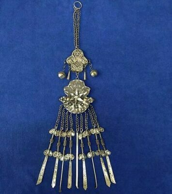 Old jewelry Tribal hand-carved miao silver handing ornament chain pendant 1piece