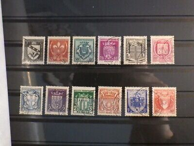 12 timbres FRANCE 1941 (526 537) Armoiries 1ere serie COMPLETE Oblitérés Used
