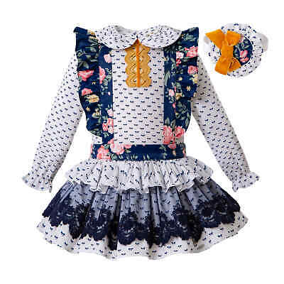 Flower Baby Girls Blouse Top Suspender Skirt Sets Princess Wedding Party Outfits