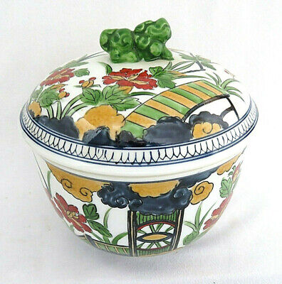 Chinese Porcelain Ginger Jar with Foo Dog Crowned Finial Lid