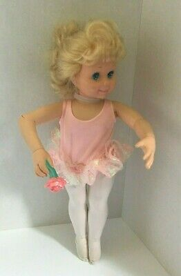 Tyco 1989 My Pretty Ballerina Dancing Doll Vintage Dances Pink Leotard Blonde