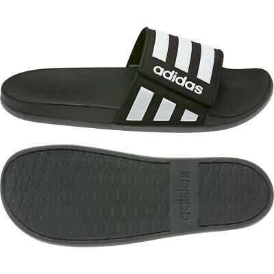 Mens Adidas Adilette Comfort ADJ Slides Black Athletic Sandal EG1344 Sizes 7-15