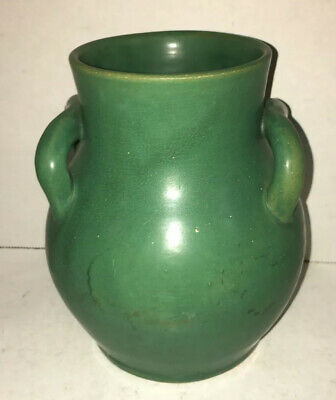 Antique Matte Green Vase Hand Made Arts & Crafts Southern Pottery Kentucky NC