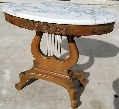 Antique Victorian Pelham Shell Leckie French Provincial Lyre Harp Table Italy