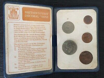 Britain UK 1971 First Decimal Coins Set 1/2, 1, 2, 5, 10 Penny Collectible Rare