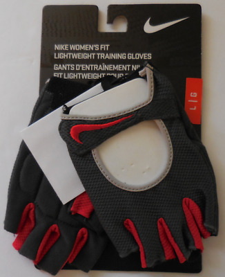 NIKE Women's Fit Lightweight Training Gloves Anthracite/Sport Red Size Large New