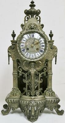 Impressive Antique French 8 Day Silvered Pierced Bronze Ornate Mantel Clock