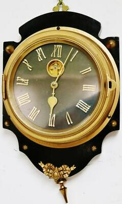 Antique French Farcical Mystery Wall Clock Brass Shield Farcot French Clock 1900