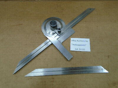 "D132 Bevel Protractor for Machinist Toolmaker  Woodworker with 8"" & 12"" Blades"
