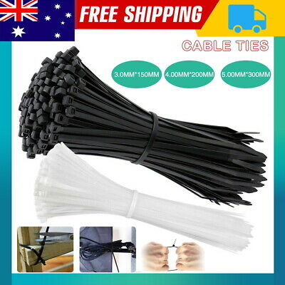 Cable Ties Zip Ties Nylon UV Stabilised 100/200x Bulk Black White Cable Tie