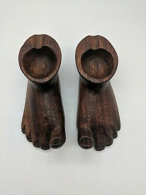 Folk Art Ashtray Hand Carved Ethnic Tribal Wood Foot Pair