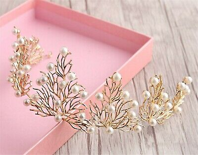 Women Girl Pearl Forest Woodland Party hair head band Tiara Crown Fascinator
