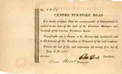 1812 Centre Turnpike Road Stock Certificate