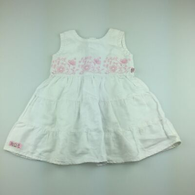 Girls size 00, Max and Tilly, cute white ramie / cotton embroidered dress, GUC