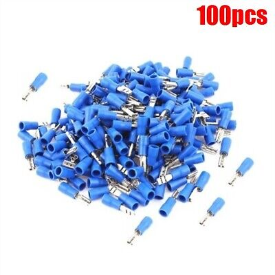 100Pcs Blue Female 2.8MM Spade Insulated 16-14AWG Wire Crimp Terminals zp