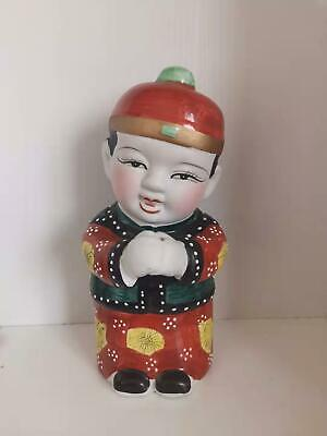 9.4''Beautiful Chinese Rose Porcelain Boy May you be happy and prosperous statue
