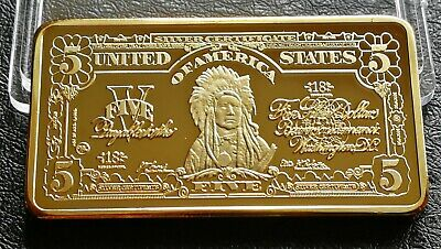 Collectable Clearance American Indian Five Dollar Gold Plated Bullion Bar