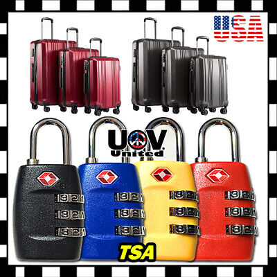 TSA Approve 3 Digit Combination Travel Suitcase Luggage Bag Lock Padlock Reset U