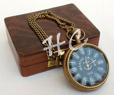 Nautical Brass Antique Pocket Watch With Wooden Box Marine Anchor Pandent Clock