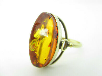 925 Sterling Silber Ring Bernstein Russia Art Deco Ära Vintage amber silver ring