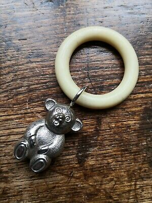 Vintage Hallmarked Silver Teddy Bear Teething Ring Christening Present