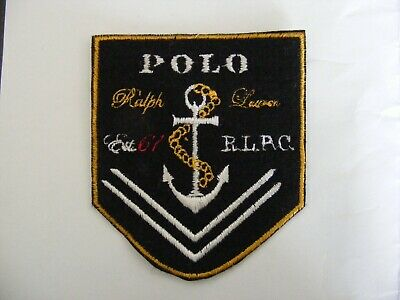 Ralph lauren polo black iron on logo badges 3cm free postage