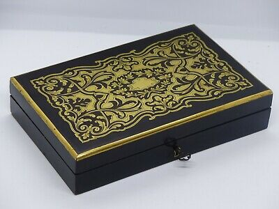 Antique French Boulle Napoleon III Late 19th Century Ebonised / Brass Inlaid Box